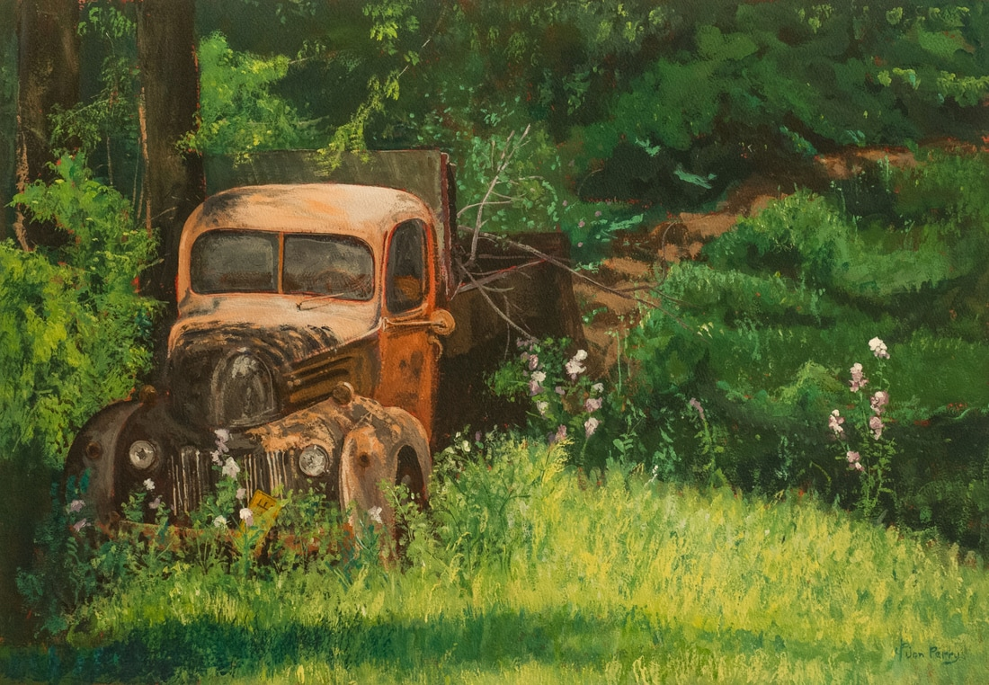 grampas truck end of the road two acrylic on watercolor paper wood frame 24 x 32 12 450